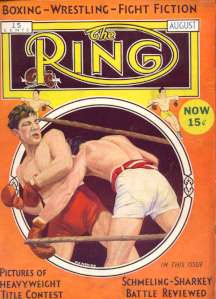 RING Cover: August 1932 with Painting of Two Boxers
