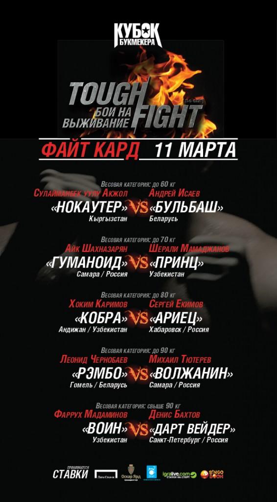 Результаты предварительных боев  ТАФФАЙТ, сезон ВЕСНА-2013 (1)