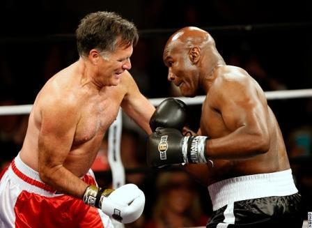 Экс-кандидат в президенты США Митт Ромни провел бой с Эвандером Холифилдом (1)