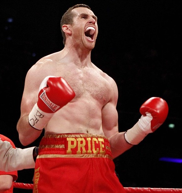 David Price reacts after The British Heavyweight and Commonwealth Titles Fight at the Liverpool Echo Arena, Liverpool. PRESS ASSOCIATION Photo. Picture date: Saturday October 13, 2012. See PA Story BOXING Liverpool. Photo credit should read: Peter Byrne/PA Wire.